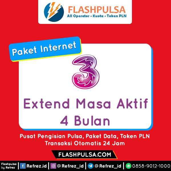 Paket Internet Three Data - MASA AKTIF 4 BULAN