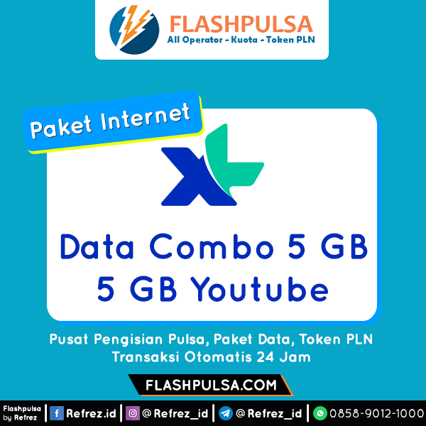 Paket Internet XL Data Combo - COMBO 5GB+5GB YOUTUBE +20mnt 30hr