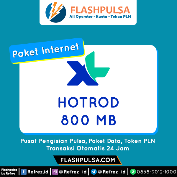 Paket Internet XL Hotrod - Hot Rod 24jam 800MB 30hr